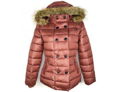 Dámská prošívaná pudrová bunda s kapucí M