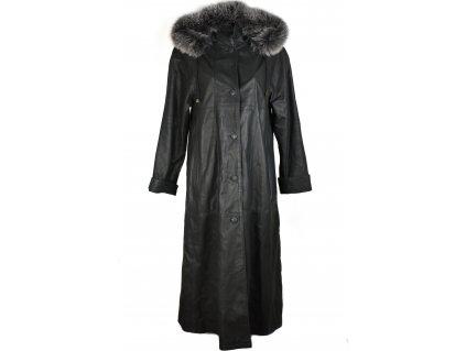 KOŽENÝ dámský šedý dlouhý měkký kabát s kapucí, pravá kožešina KARA 38