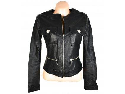 KOŽENÁ dámská černá měkká bunda na zip  S