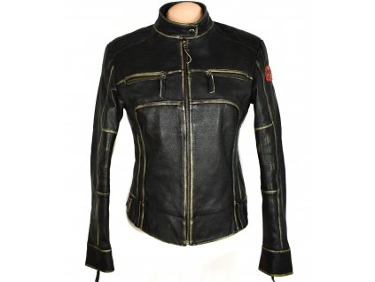 KOŽENÁ dámská černá zateplená měkká bunda na zip UNCLE SAM M
