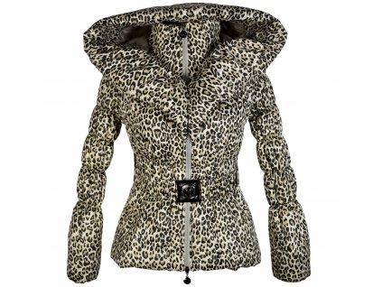 Dámský prošívaný leopardí prošívaný kabát s páskem a kapucí S