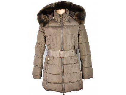 Dámský hnědý prošívaný zimní kabát s páskem a kapucí XL
