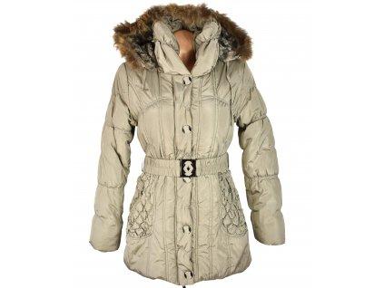 Dámský béžový zimní prošívaný kabát s páskem a kapucí Forest S