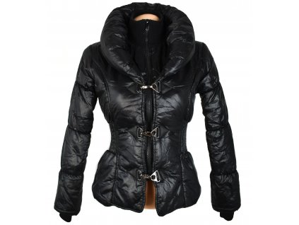 Dámská černá prošívaná bunda na zip a karabinky XS