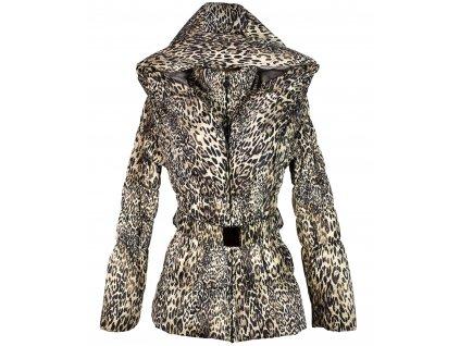 Dámský prošívaný leopardí kabát s páskem a kapucí L
