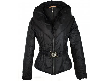Dámský černý prošívaný kabát s páskem a límcem M