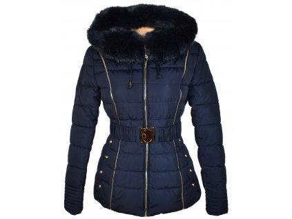 Dámský prošívaný modrý zimní kabát s páskem a kapucí Black&Fish M