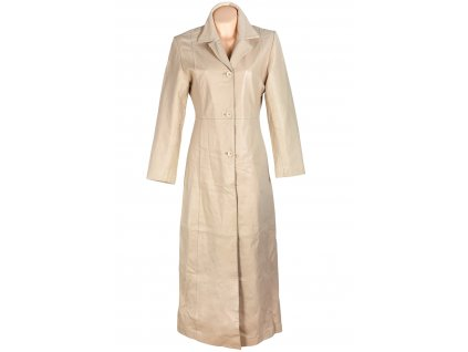 KOŽENÝ dámský dlouhý krémový měkký kabát S