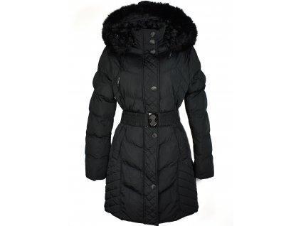 Dámský černý prošívaný kabát s páskem a kapucí Forest L