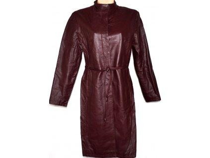 KOŽENÝ dámský hnědovínový kabát s páskem TOPSHOP L