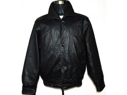 KOŽENÁ pánská černá zateplená bunda Henry Monelf XLi