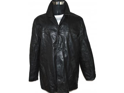 KOŽENÁ pánská černá zateplená měkká bunda vel. L