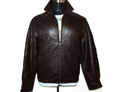 KOŽENÁ pánská hnědá měkká bunda na zip Hathaway S
