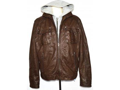 KOŽENÁ pánská měkká hnědá bunda na zip NEXT XL