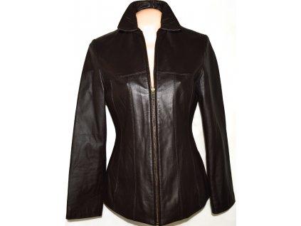 KOŽENÁ dámská měkká hnědá bunda na zip S/M