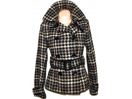 Vlněný dámský hnědočerný kabát s páskem - kohoutí stopa