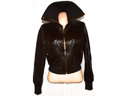KOŽENÁ dámská hnědá bunda na zip NEW LOOK S, XL