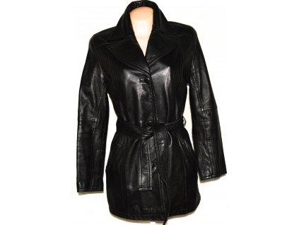 KOŽENÝ dámský měkký černý kabát s páskem L