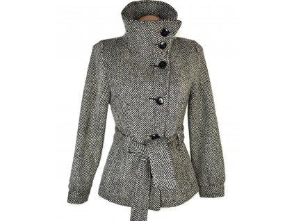 Vlněný dámský černobílý kabát s páskem H&M 34, 36, 42