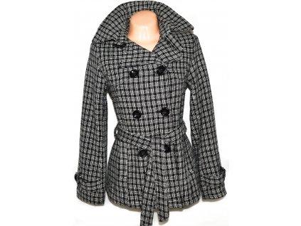 Dámský černobílý kabát s páskem L