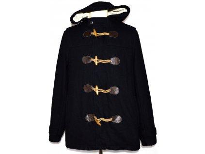 Vlněný pánský modrý kabát na cvoky a vidlice  L