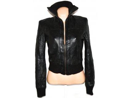 KOŽENÁ dámská měkká černá bunda na zip Heeli L