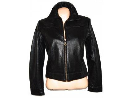 KOŽENÁ dámská černá měkká bunda na zip L / 40