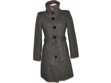 Vlněný dámský šedočerný kabát s páskem H&M