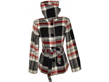 Vlněný dámský černo-červený károvaný kabát s páskem C&A - YESSICA L/XL