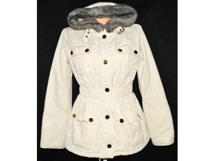 Dámský krémový kabát s kapucí MANGO L