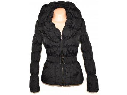 Dámský černý šusťákový kabát s páskem, límcem Forest M