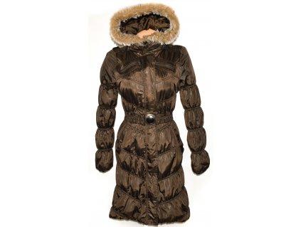 Dámský dlouhý hnědý šusťákový prošívaný kabát s páskem, kapucí MADONNA S