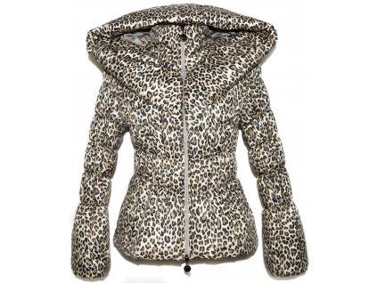 Dámský šusťákový leopardí kabát s límcem S-M