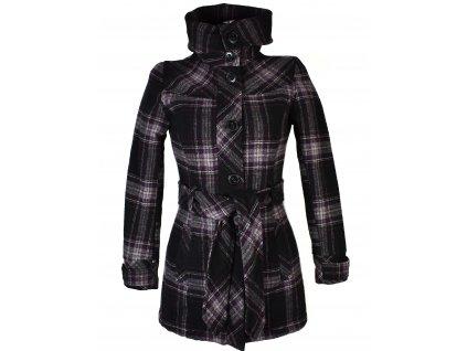 Vlněný (50%) dámský fialovočerný zimní kabát s páskem, límcem XS, S, M, L