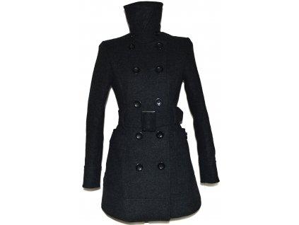 Vlněný (80%) dámský šedý kabát s páskem H&M 36