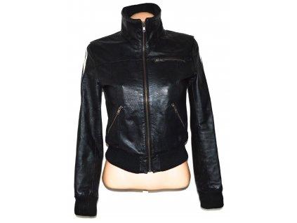 KOŽENÁ dámská černá měkká bunda na zip KENVELO S