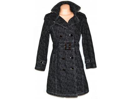 Bavlněný dámský černobílý pruhovaný kabát s páskem EMINENT L