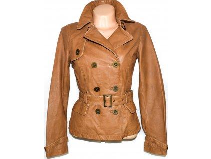 KOŽENÝ dámský hnědý měkký kabátek s páskem ORSAY S