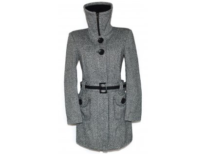 Dámský šedočerný zimní kabát s páskem a límcem ORSAY