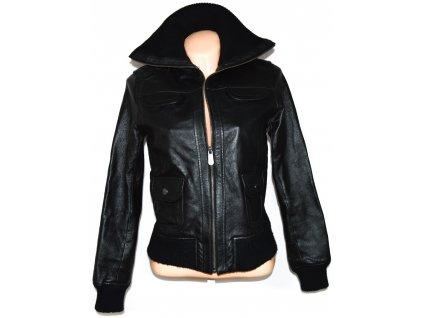 KOŽENÁ dámská černá měkká bunda na zip East Village 36/38