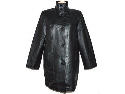 KOŽENÝ dámský černý měkký kabát se stojáčkem CERO XXL, XXXL+