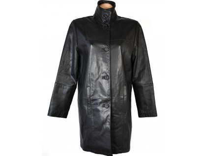 KOŽENÝ dámský černý měkký kabát se stojáčkem CERO