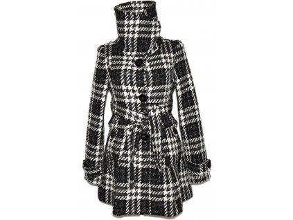 Vlněný dámský černobílý kabát s páskem ORSAY S/M