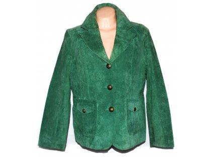 KOŽENÉ dámské broušené zelené sako XXXL