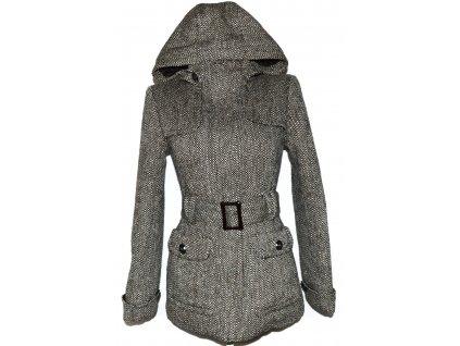 Vlněný dámský kabát s páskem a kapucí Orsay M
