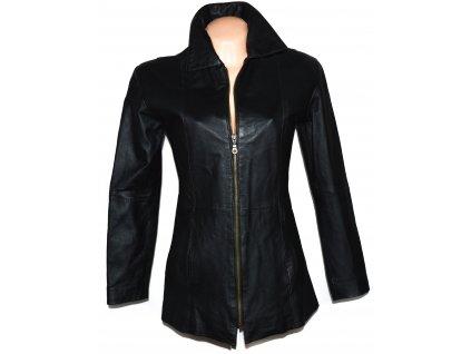 KOŽENÝ dámský černý měkký kabát na zip M