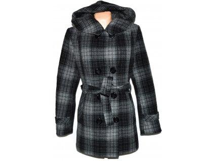 Vlněný (80%) dámský šedočerný zateplený kabát s páskem a kapucí