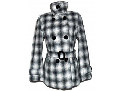 Vlněný dámský kostkovaný kabát s páskem 42