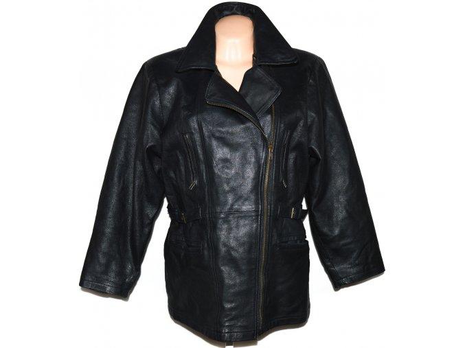 KOŽENÝ dámský černý zateplený křivák kabát 44 2