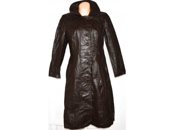 KOŽENÝ dámský dlouhý hnědý kabát SPINNEY vel. L